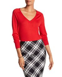 Trina Turk - Red Evangeline Wool V-neck Sweater - Lyst