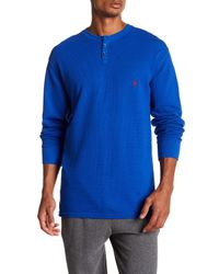 Polo Ralph Lauren - Blue Waffle Knit Henley for Men - Lyst