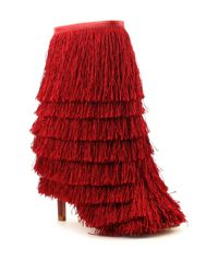 Cape Robbin | Red Alza Fringe Booties | Lyst