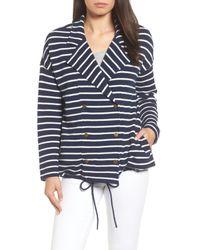 Caslon - Blue Stripe Knit Drawsting Jacket - Lyst