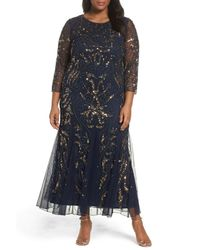 52b752fb6ae4 Pisarro Nights. Women s Blue Embellished Three Quarter Sleeve Gown (plus  Size)