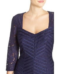 JS Collections - Blue Satin & Lace Mermaid Gown - Lyst