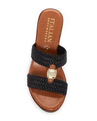 Italian Shoemakers - Black Braided Wood Platform Wedge Sandal - Lyst