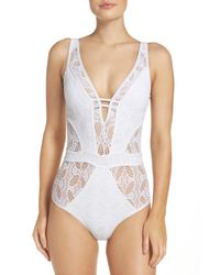 Becca - White Color Play One-piece Swimsuit - Lyst