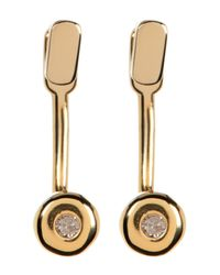 Kenneth Cole | Metallic 14k Gold Plated Diamond Detail Earrings - 0.06 Ctw | Lyst