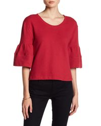 Caslon - Red 3/4 Bell Sleeve Striped Blouse - Lyst