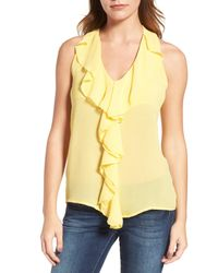 Kut From The Kloth - Yellow Ruffle Front Top - Lyst