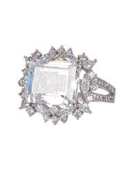 Nadri - Metallic Emerald-cut Cz Halo Ring - Size 7 - Lyst
