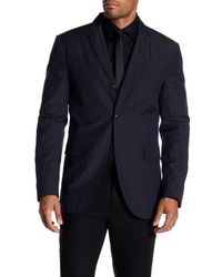 John Varvatos - Blue Convertible Wool Striped Peak Lapel Jacket for Men - Lyst
