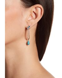 Jenny Packham | Metallic Pave Crystal & Blue Stone Drop Threader Earrings | Lyst