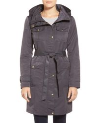 Ellen Tracy - Gray Belted Utility Trench Coat - Lyst
