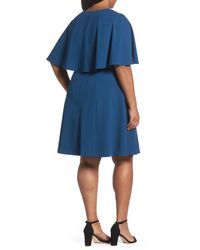 Adrianna Papell - Blue Capelet A-line Dress - Lyst