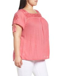 Lucky Brand - Pink Embellished Yoke Top - Lyst