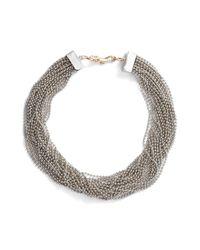 Steve Madden - Metallic Beaded Interlock Necklace - Lyst