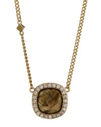 Cole Haan - Metallic 12k Gold Plated Cushion-cut Labradorite & Cz Halo Pendant Necklace - Lyst