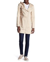 SOIA & KYO - Natural Asymmetric Zip Hooded Raincoat - Lyst
