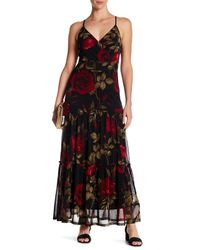 9ca4b170ea2 Lyst - West Kei Mesh Red Rose Surplice Floral Maxi Dress in Red
