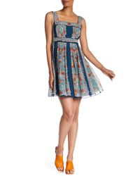 Anna Sui Blue Silk Flower Child Dress