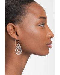Argento Vivo   Metallic Sterling Silver Teardrop Dome Lace Earrings   Lyst