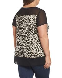 Vince Camuto - Black Leopard Song Mixed Media Top - Lyst
