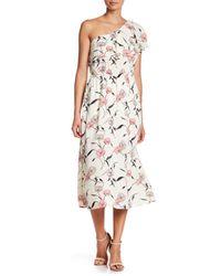 Blu Pepper - Multicolor One-shoulder Floral Midi Dress - Lyst