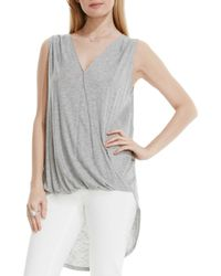 Vince Camuto | Gray Faux Wrap High/low Tank | Lyst