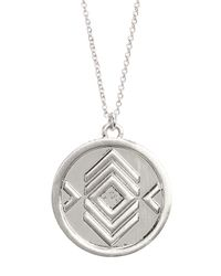 House of Harlow 1960 - Metallic Brushed Crystal Pendant Necklace - Lyst