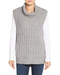 Two By Vince Camuto | Gray Chunky Sleeveless Turtleneck | Lyst