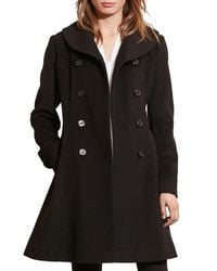 Lauren by Ralph Lauren - Black Fit & Flare Military Coat - Lyst