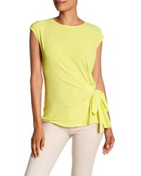Vince Camuto - Yellow Mixed Media Tie Front Blouse - Lyst