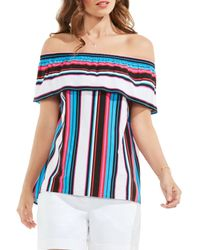 Vince Camuto | Blue Stripe Off The Shoulder Blouse | Lyst