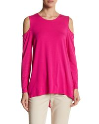 Vince Camuto | Pink Long Sleeve Cold Shoulder Pullover | Lyst