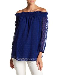 e1dc6a83967 Cece by Cynthia Steffe. Women's Blue Ruched Off-the-shoulder Diamond Clip  Blouse
