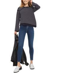 TOPSHOP - Blue Asymmetrical Hem Sweater - Lyst