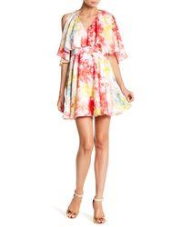 Jay Godfrey | Pink Cold Shoulder Floral Skater Dress | Lyst
