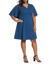 Adrianna Papell   Blue Capelet A-line Dress   Lyst