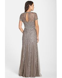 Adrianna Papell - Gray Beaded Mesh Gown (regular & Petite) - Lyst