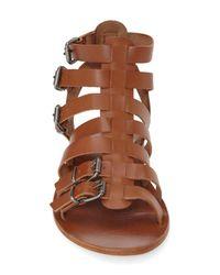 TOPSHOP - Brown 'Favorite' Flat Gladiator Sandal - Lyst