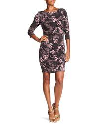 Chetta B - Multicolor Floral Bateau Jersey Dress - Lyst