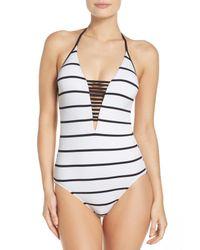 Seafolly - White Castaway Stripe One-piece Swimsuit - Lyst