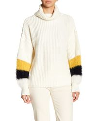 Haute Rogue White Faux Fur Panel Turtleneck Sweater