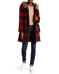 BB Dakota - Red Lia Coat W/ Faux Fur Trim Hoodie - Lyst