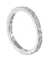 Kenneth Jay Lane - Metallic Round Cz Embellished Band Ring - Lyst
