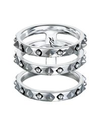 Karl Lagerfeld - Metallic Triple Stacked Ring - Size 8 - Lyst