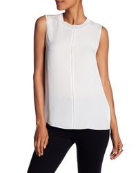 Vince - White Seam Front Sleeveless Blouse - Lyst