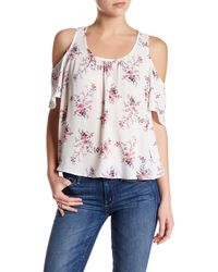 Lush - Pink Cold Shoulder Tank - Lyst