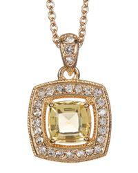 Nadri - Metallic 18k Yellow Gold Plated Cushion-cut Halo Pendant Necklace - Lyst