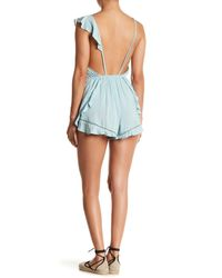 Free People - Blue Sleeveless Lounge Romper - Lyst