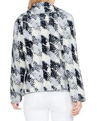 Two By Vince Camuto - Black Broken Houndstooth Faux Fur Coat - Lyst