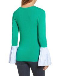 Halogen - Green Poplin Bell Cuff Sweater (petite) - Lyst